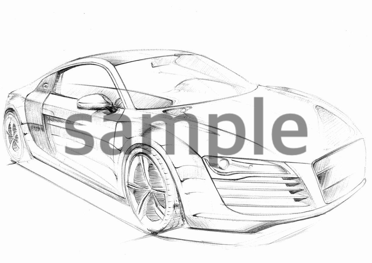 愛車またはその他プロダクトのスケッチを描きます 車好きの方、スケッチが苦手な方へ