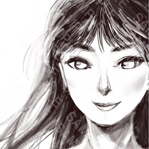 女性の顔のSNS用アイコン(モノクロ)描きます 女性の顔のイラストをアイコンにしたい方へ