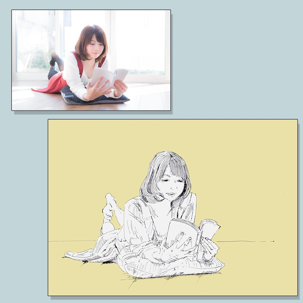 ボールペンで写真をイラストにします 一発描きで味あるタッチが特徴 お祝い・プレゼント・挿絵に!