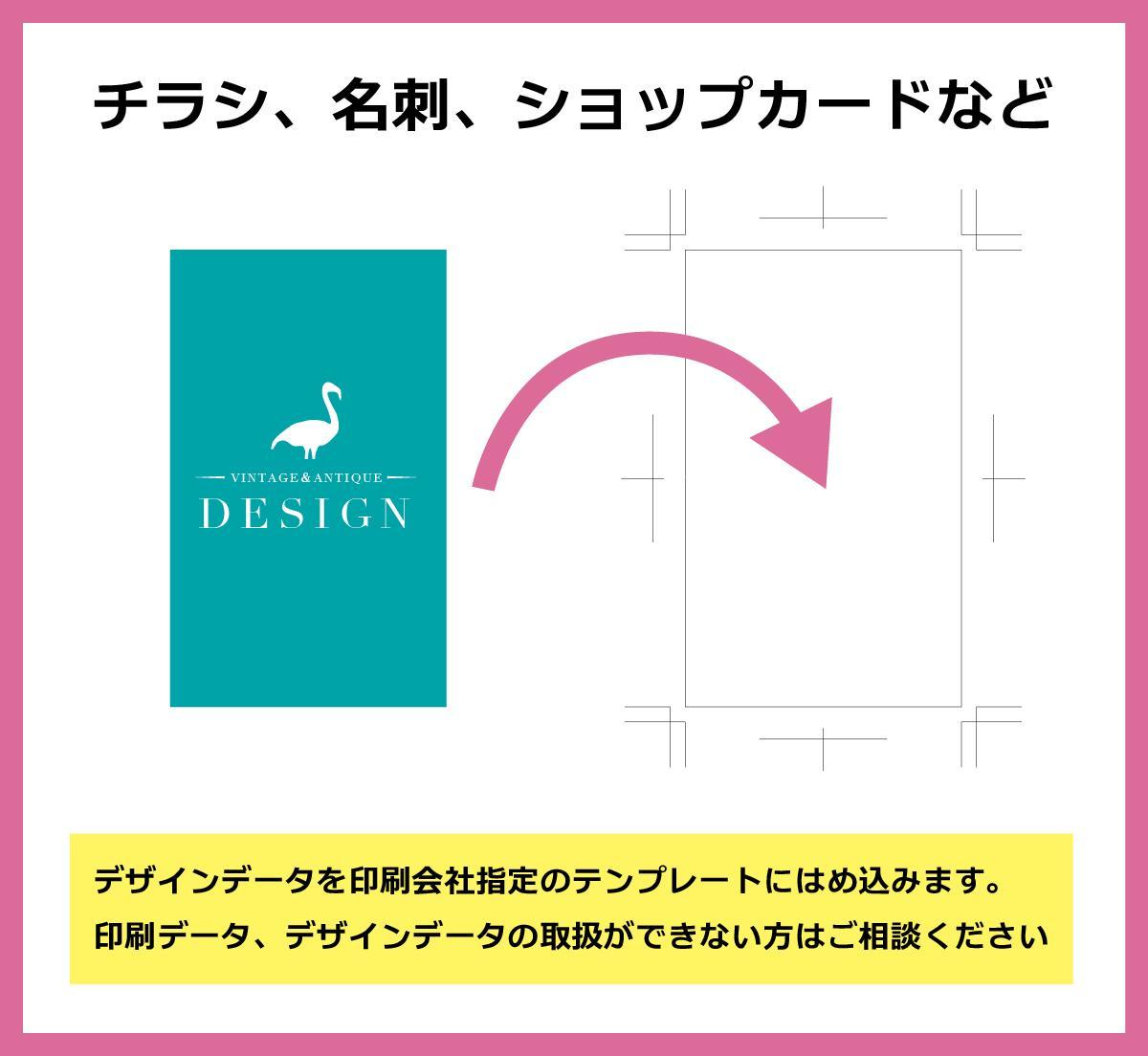 デザインデータを印刷テンプレートにはめ込みます 印刷データ、デザインデータの取扱ができない方へ