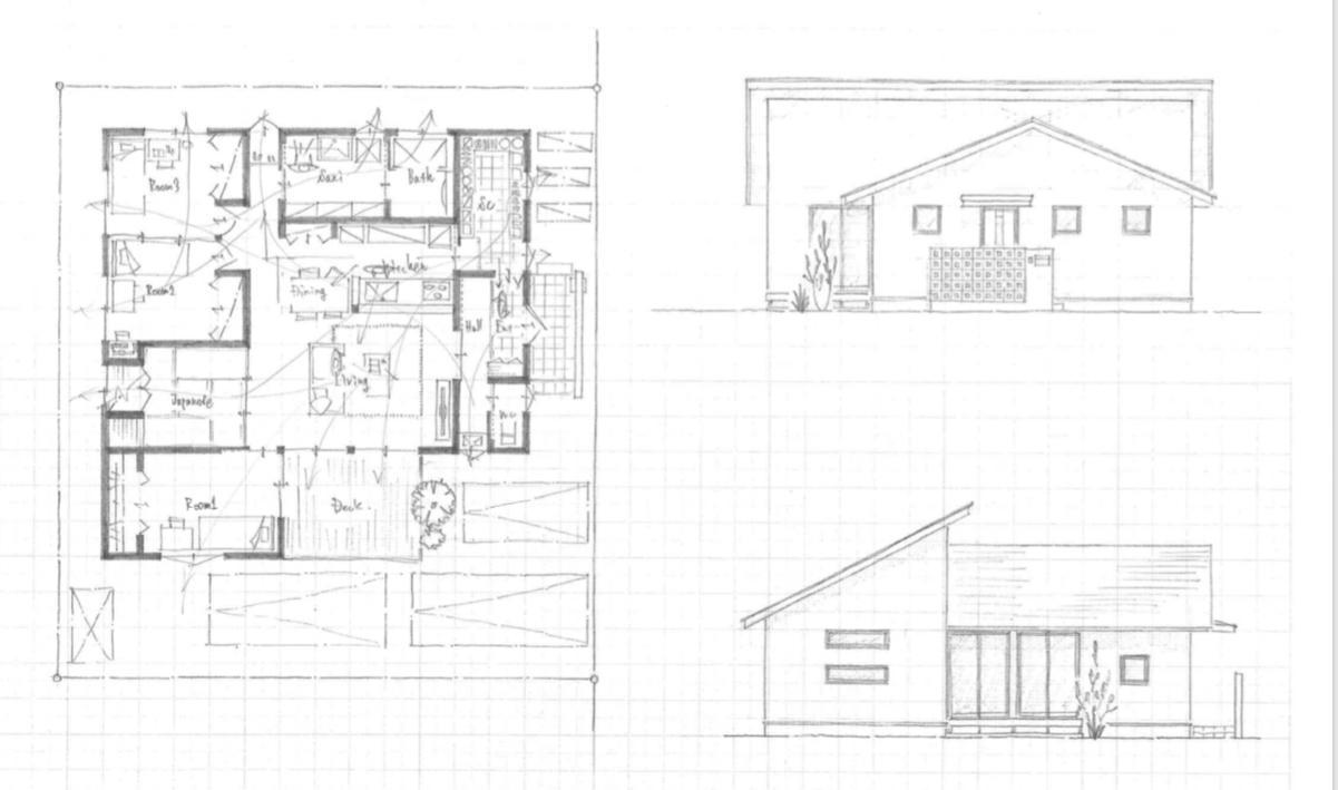 建築家が家の間取り図面、外構図面をセットで考えます 変形土地で中々いい間取り、外構ができない方にオススメです!