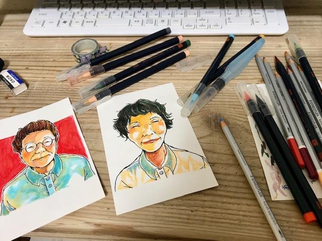 小さな似顔絵 温かみある手描きのイラスト描きます ハガキサイズの小さな似顔絵 プチギフトにどうぞ!