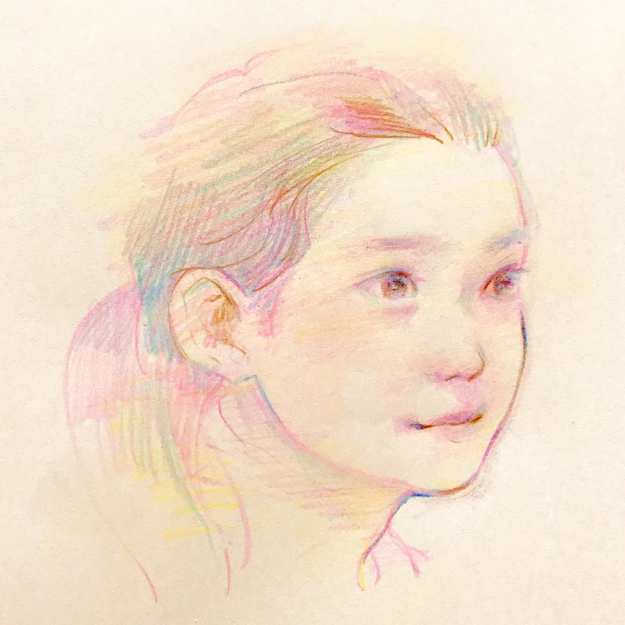 色鉛筆であたたかい雰囲気の似顔絵作成します ●思い出に、誕生日に、記念日に、家族へのプレゼントに