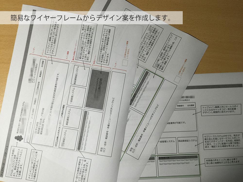 ホームページの構成案や手書き案などをFWでデザイン化します!