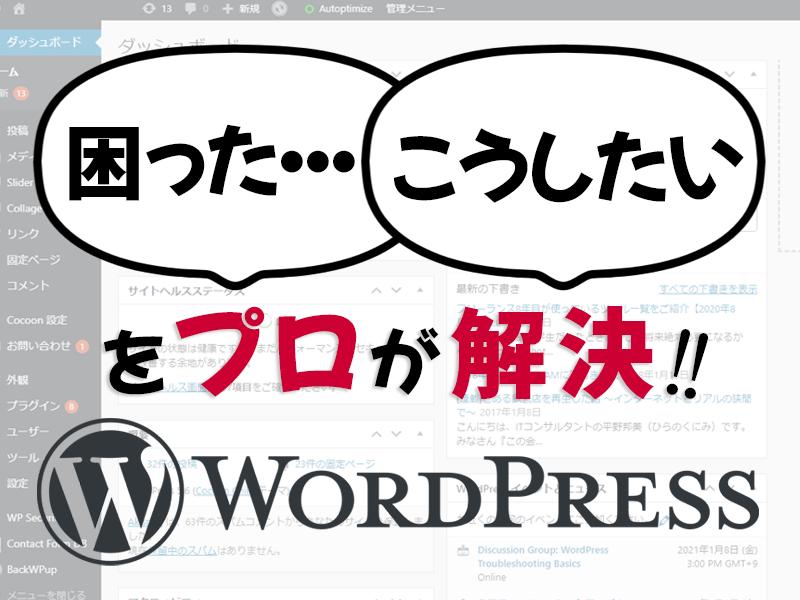 WordPressエラーの修正・カスタマイズします WordPressで困ったらプロにすぐ相談できます! イメージ1