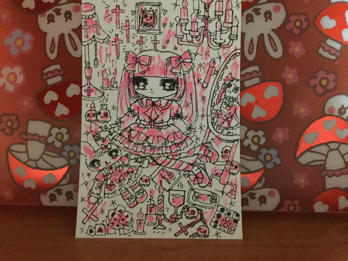 ゴスロリ系少女描きます 手描き♡ゴシックロリータ少女ハンドメイドイラスト♥︎