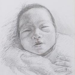赤ちゃんの似顔絵を描きます 出産祝いの記念やプレゼントにオススメ!