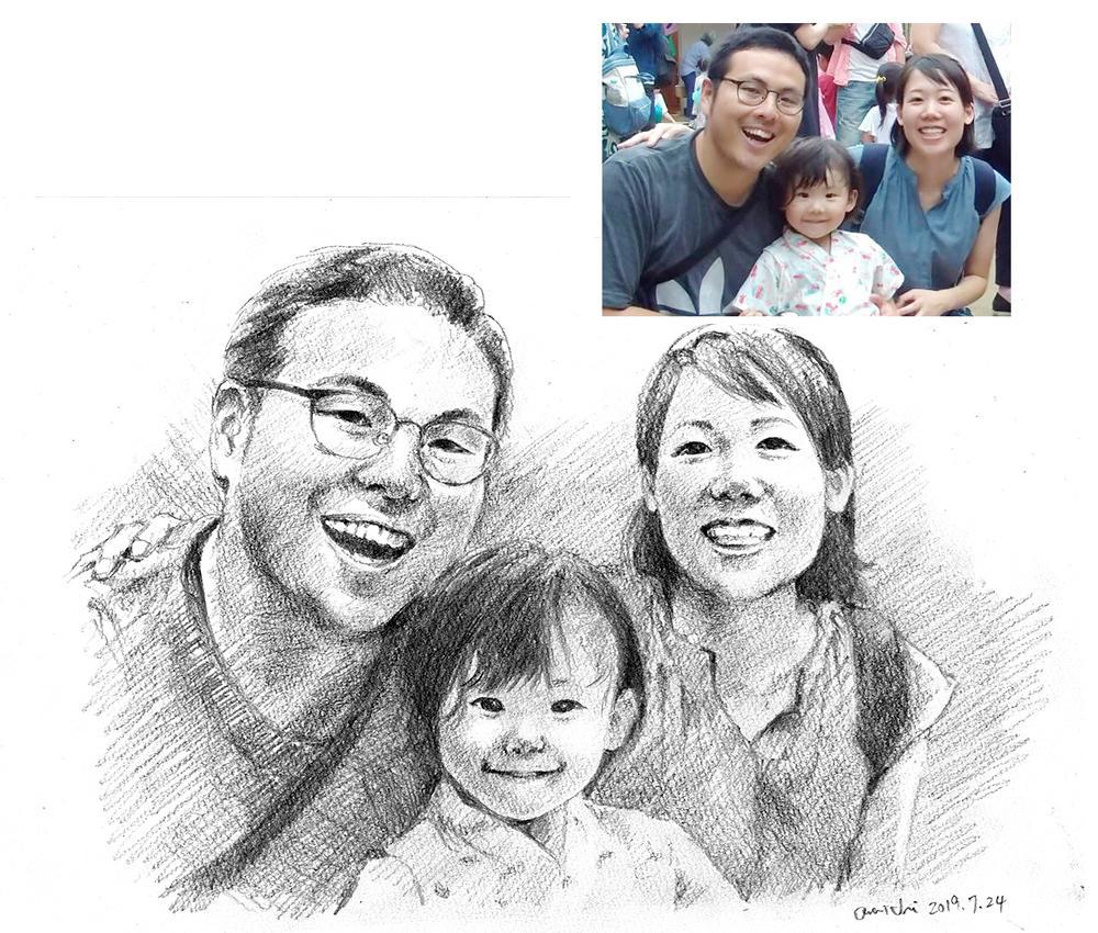 写真からデッサン風似顔絵(人物/ペット)を描きます リアル鉛筆スケッチ画。写真組み合わせ・原画郵送・ポスター印刷