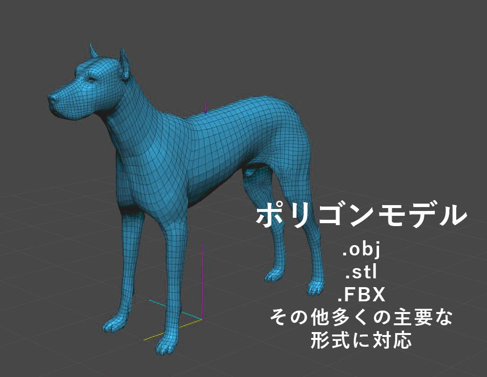 ポリゴンモデルをCAD編集可能形式に変換します (例).OBJ形式→.IGES形式へ変換します。 イメージ1