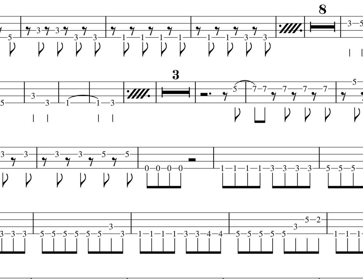 ベースライン 耳コピで 楽譜、タブ譜化します 1曲4分以内1500円 楽譜、タブ譜どちらでも☆ イメージ1
