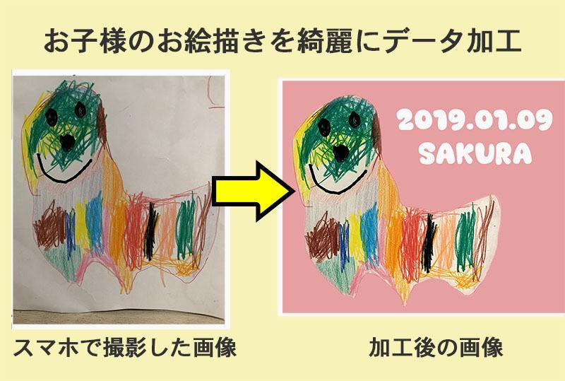 お子様のお絵描きした絵をデータ化します お子様の描いたお気に入りの絵、飾るだけじゃ勿体無い!