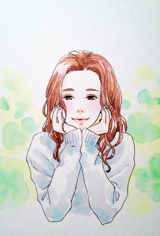 似顔絵を描きます 少女漫画風の優しい似顔絵を水彩画が得意です。 イメージ1