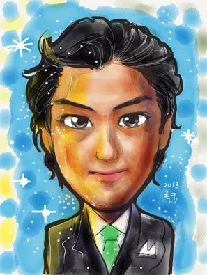あなたの写真を元に、iPadで、水彩画風な似顔絵を描きます!