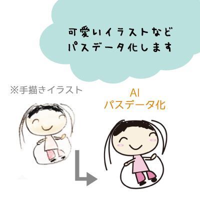 簡単な文字、イラストをAIパス化します お子様描いたイラストも文字もきれいにAIパスデータ化します イメージ1