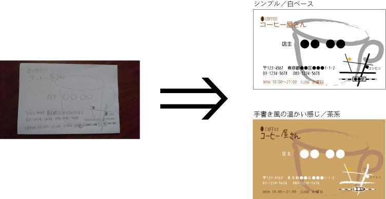 手書きの下絵をデータ化します 名刺・カード類作成のお手伝いします。