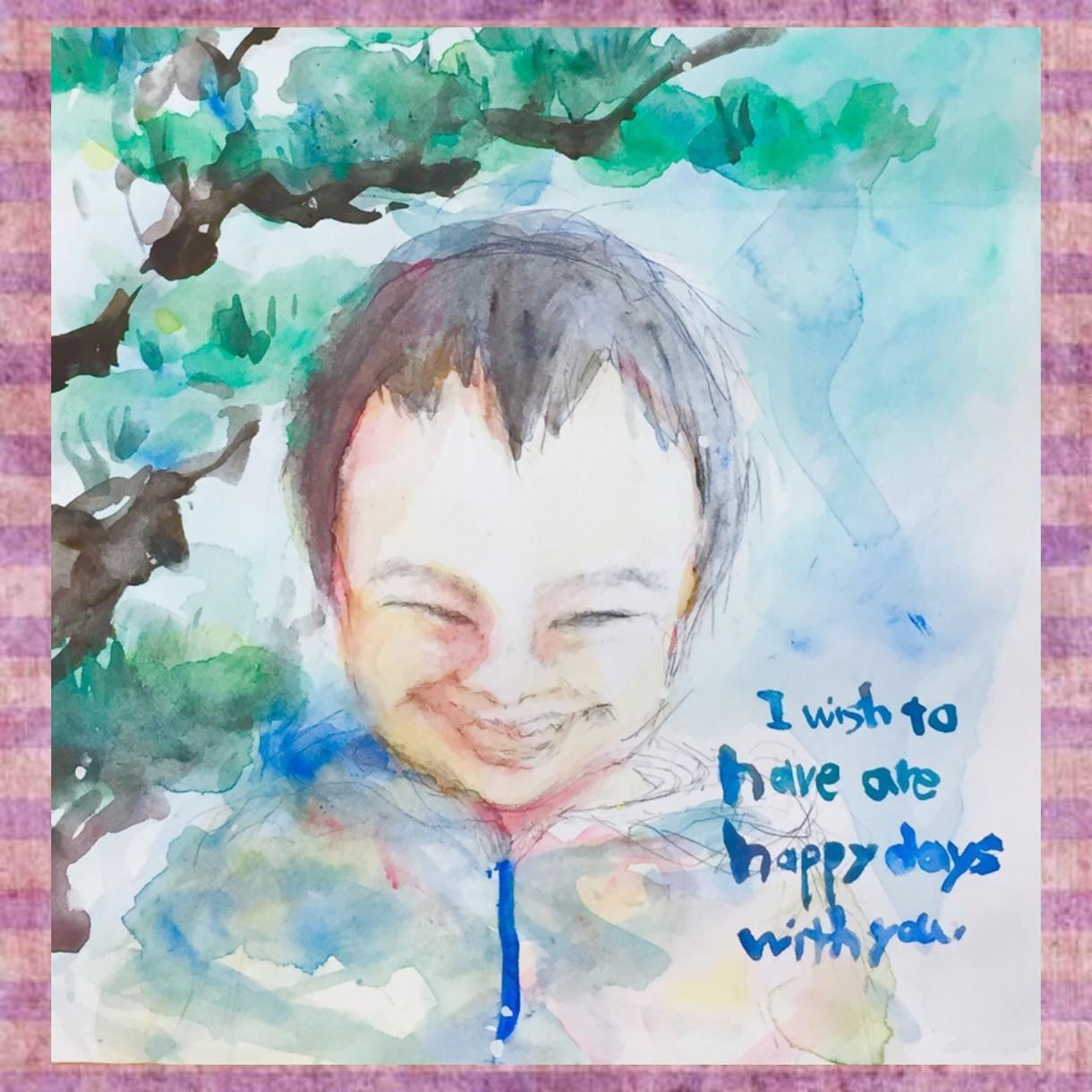 水彩絵の具で似顔絵を描きます お子様の記念日や大切な方への贈り物に