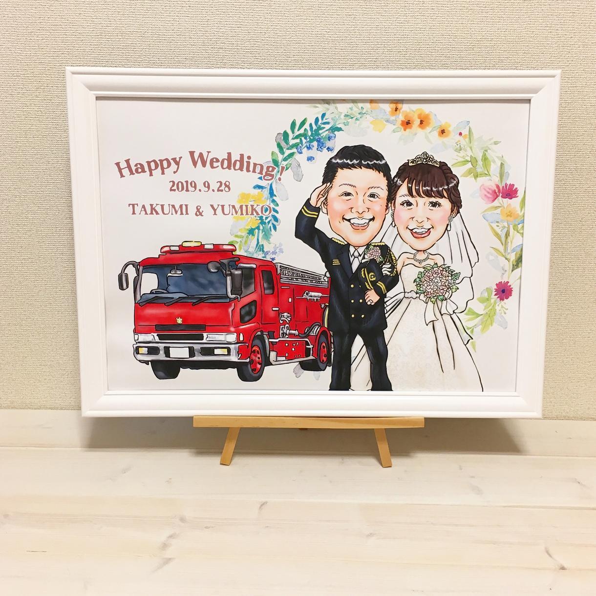 結婚式や記念日の似顔絵描きます 他サイトにて実績あり。可愛い似顔絵描きます。
