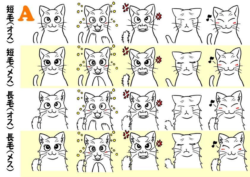 表情差分アリ、テンプレから猫カスタマイズします ペットの似顔絵やデザインの補助に使える猫イラストです♪