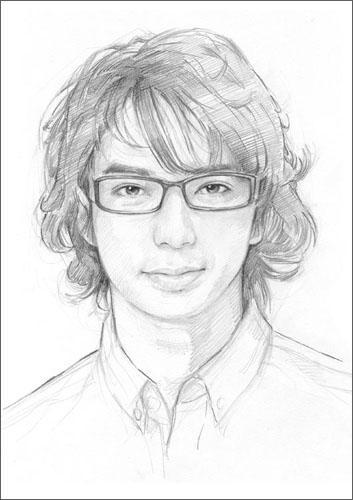 鉛筆スケッチ風のリアルな似顔絵を描きます プロフィール写真用や、記念用や贈り物にもどうぞ!