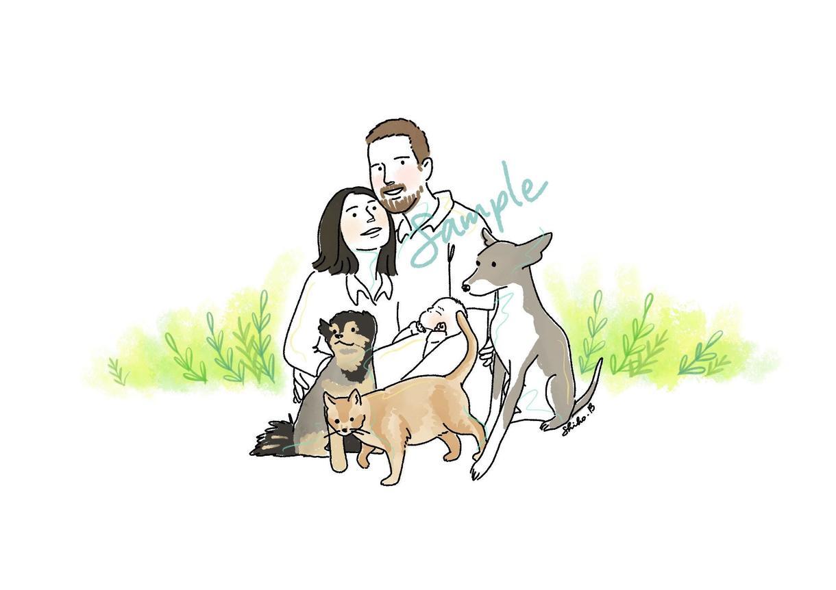 シンプルゆるかわ似顔絵を制作します 家族、ペット、マイホームなどあなたの「大切」をイラストに。 イメージ1