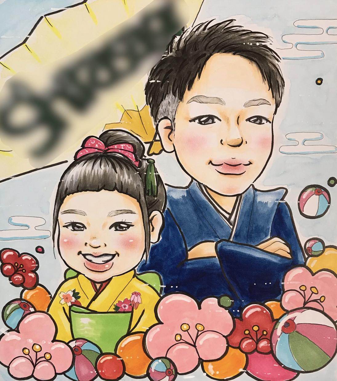 色紙サイズ✿お子様の似顔絵をお描きします 誕生日や節句、入園卒園、入学卒業のお祝いに✿《送料込》