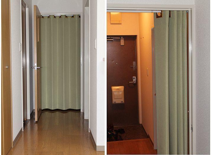出入口の冷暖房効率を上げる間仕切りカーテン作ります 突っ張り棒で簡単設置!使わない季節は取り外して片付けできます イメージ1