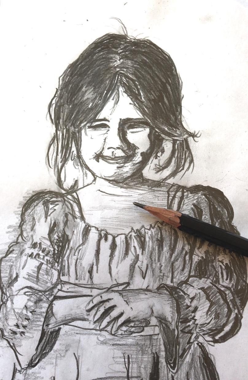 鉛筆で暖かな雰囲気の絵を提供します モノトーンの柔らかさをぜひ❣️デフォルメもOK