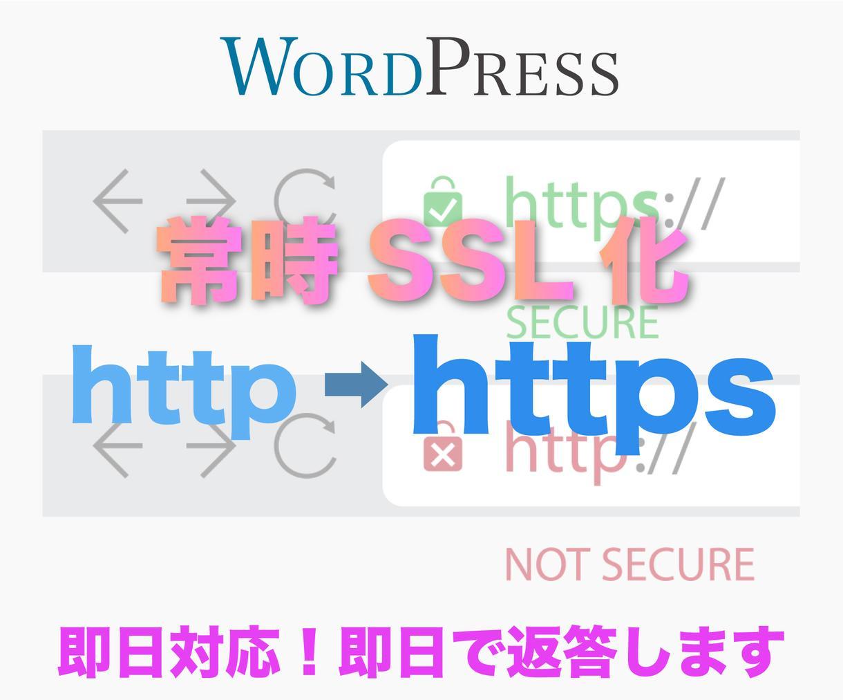 ワードプレスSSL化します 即対応で(http→https)承ります イメージ1