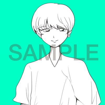 SNS用のアイコンをお描きします 人物白黒&背景カラーのSNS用アイコンを作成致します。
