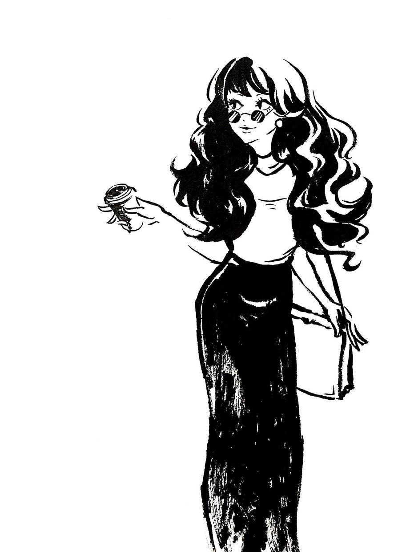 筆ペンでイラスト描きます アクセントにファッション風イラストが欲しい方へ