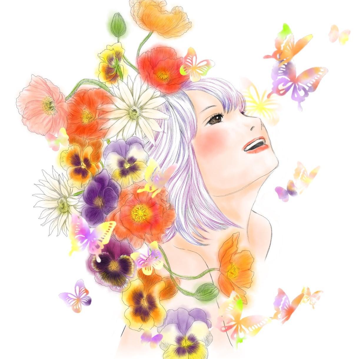 お好きな花につつまれた似顔絵をお描きします ウエルカムボードやプレゼントに! イメージ1