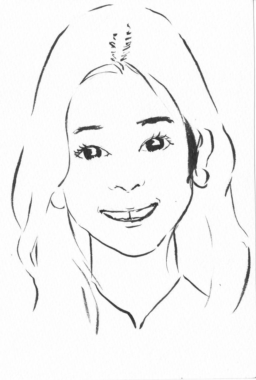 筆ペンでシンプルな似顔絵お描きします SNSのアイコンやちょっとした記念になどにぴったり。