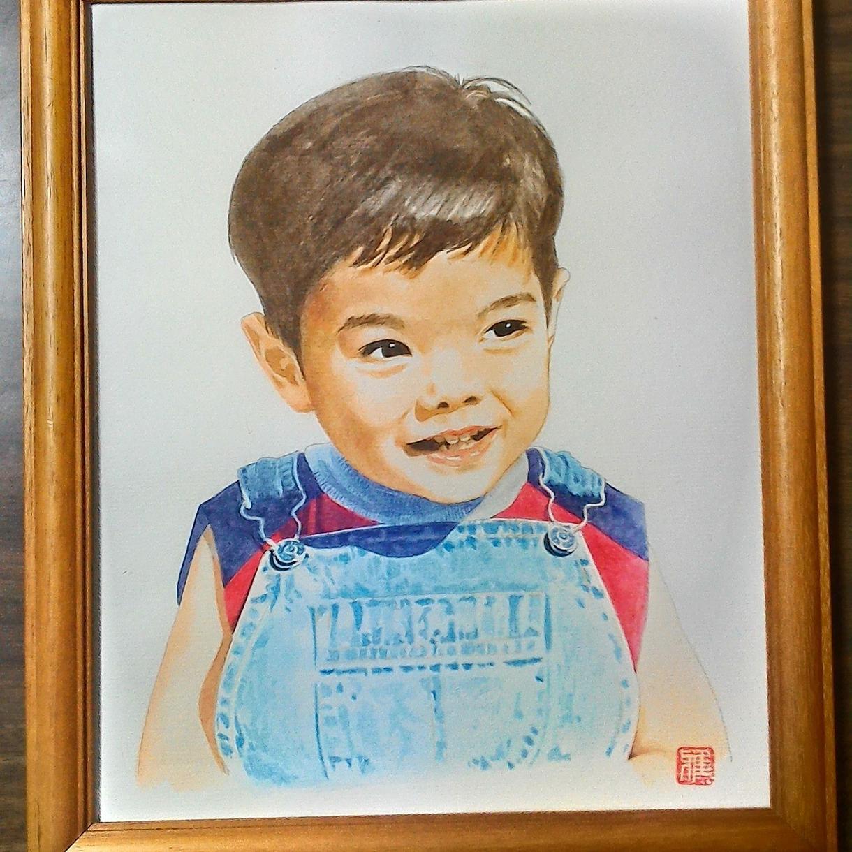 写真をもとに人物の似顔絵を描きます 透明水彩絵の具で厚めの水彩紙にポートレートを描きます。 イメージ1