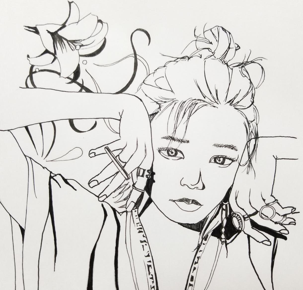ボールペンで似顔絵(モノクロ)を描きます アイコンに、カードに、シンプルな似顔絵を