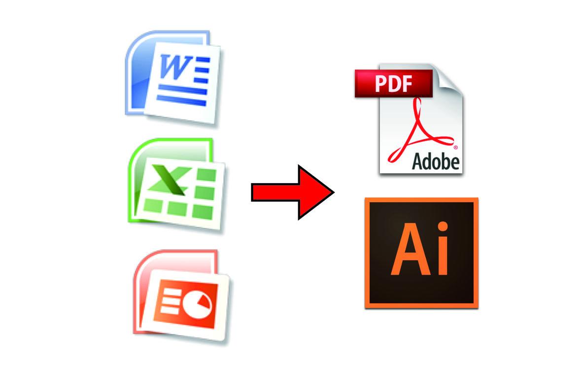 オフィスデータをイラストレーターデータ(.ai)やpdfデータに変換します。