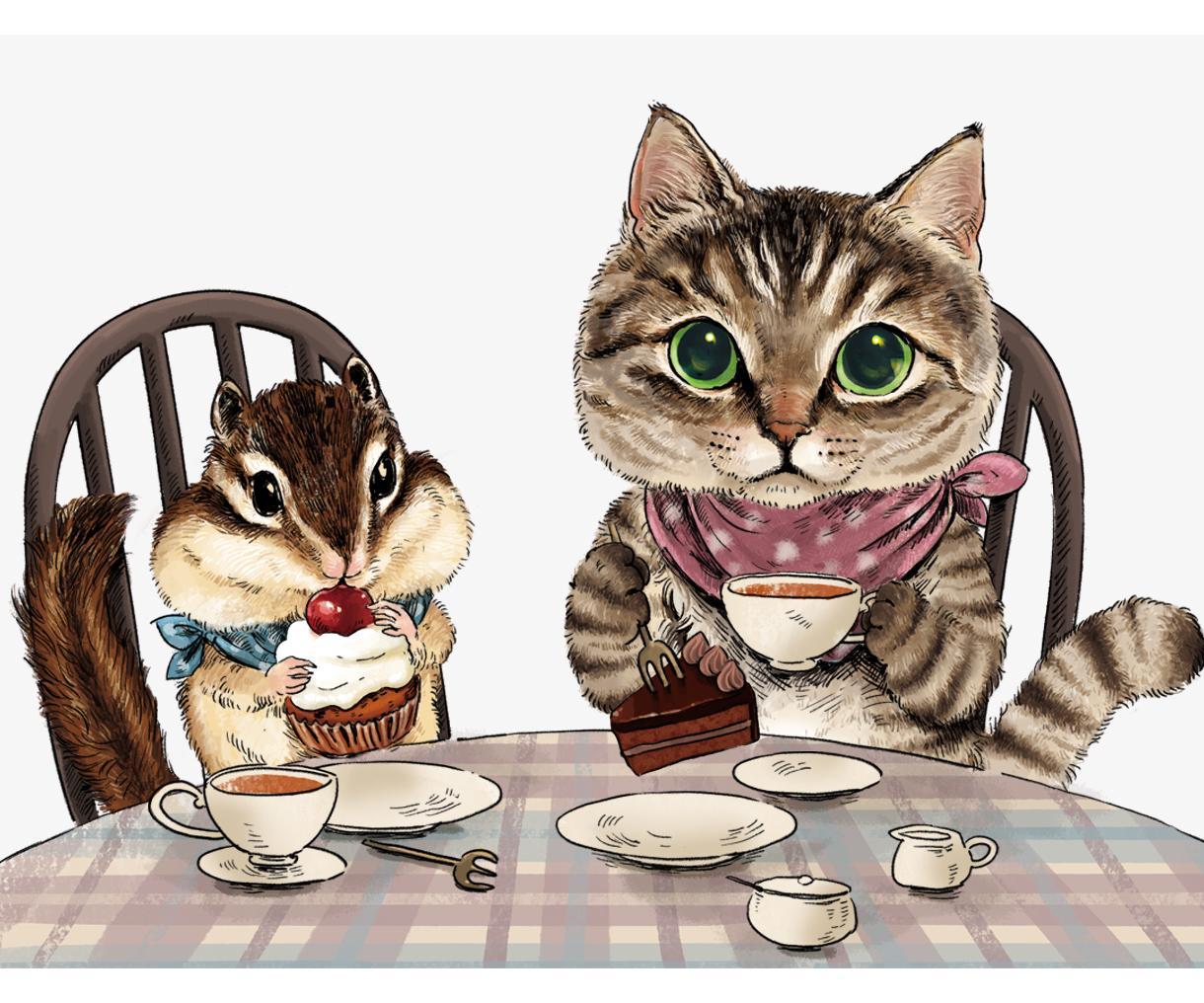 かわいいペットのイラストお描きします 猫、うざぎ、リス。リアルでシュールでかわいい擬人化動物! イメージ1