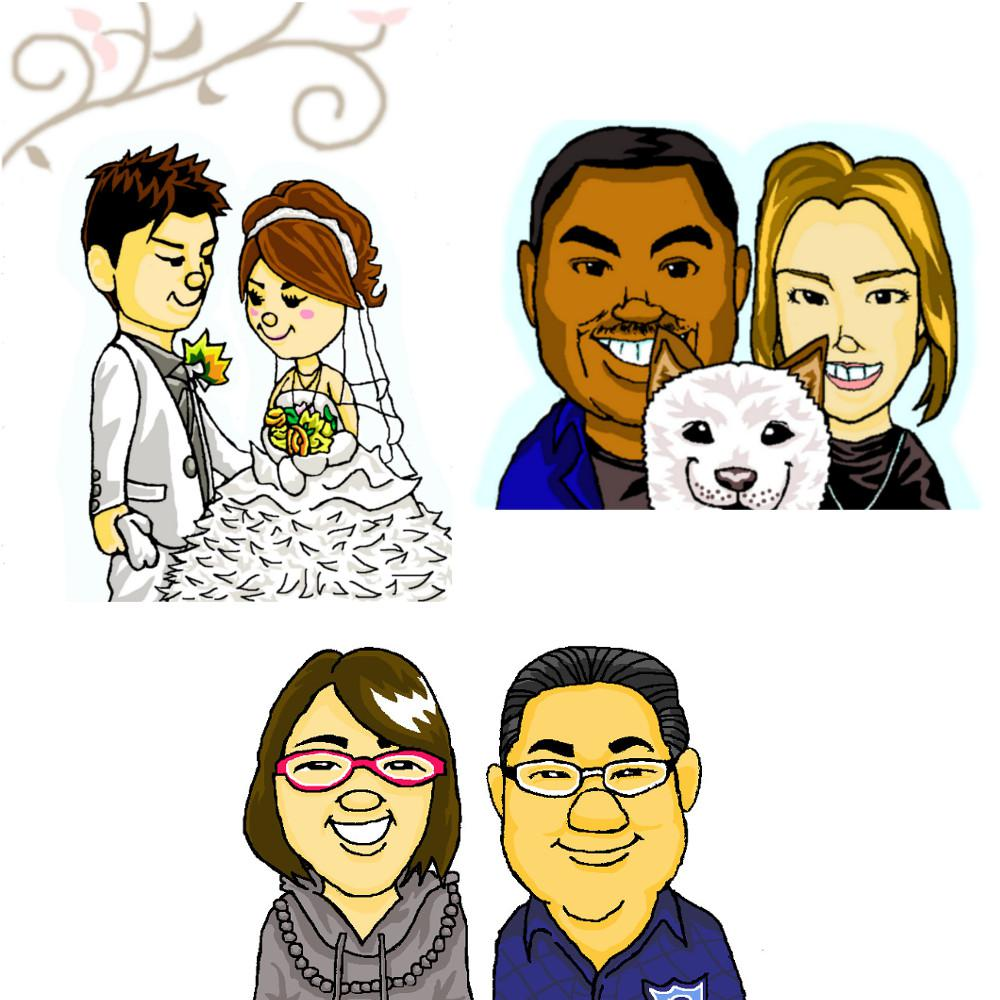 ヘタウマな似顔絵描きます SNSのアイコンや結婚式のウェルカムボードにどうぞ