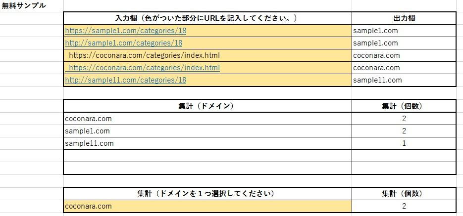 VBAは使わずにEXCELの機能だけで作っています URLのドメイン部分だけを抽出しサイトごとに分ける イメージ1