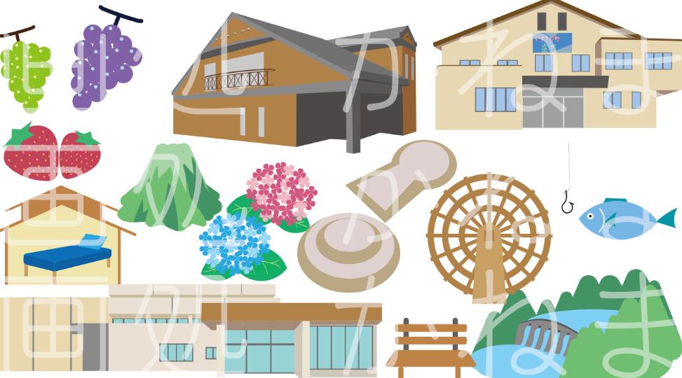 あなたの街の名産品や特産品をイラスト化します 【使い方は様々♪チラシやポスター、HPや観光マップに!】