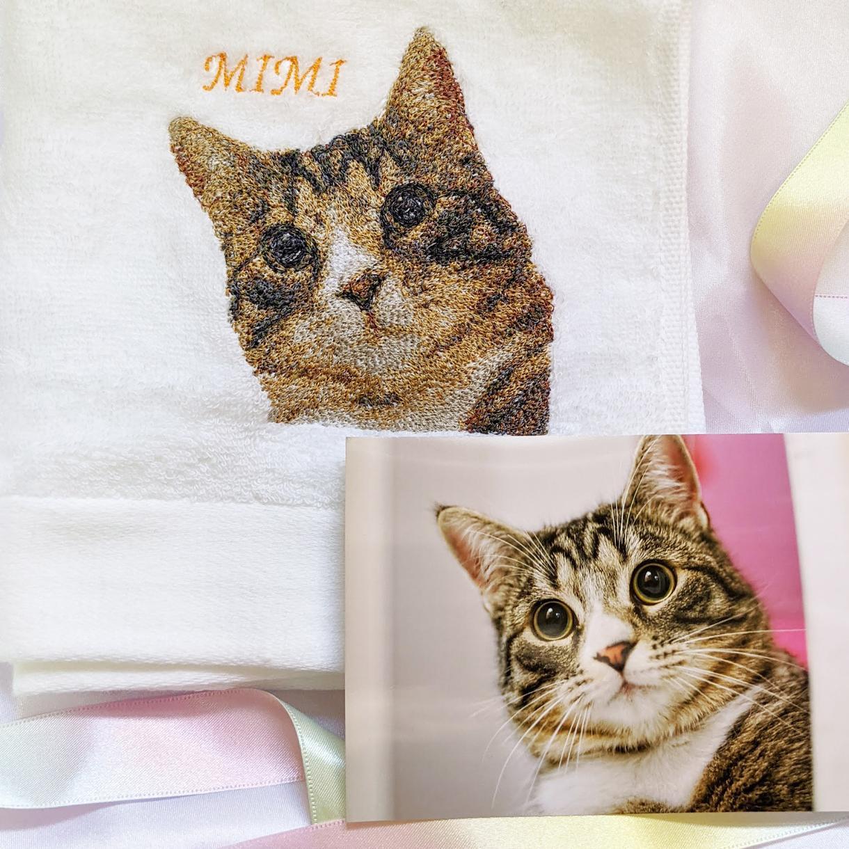 愛するお子さんやペットのお写真刺しゅうします 美しいフォト刺しゅうで世界に1枚のタオルをつくろう。 イメージ1