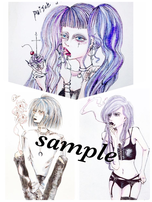 お洒落な似顔絵イラストお描きします 手描き、アンニュイな雰囲気がお好きな方