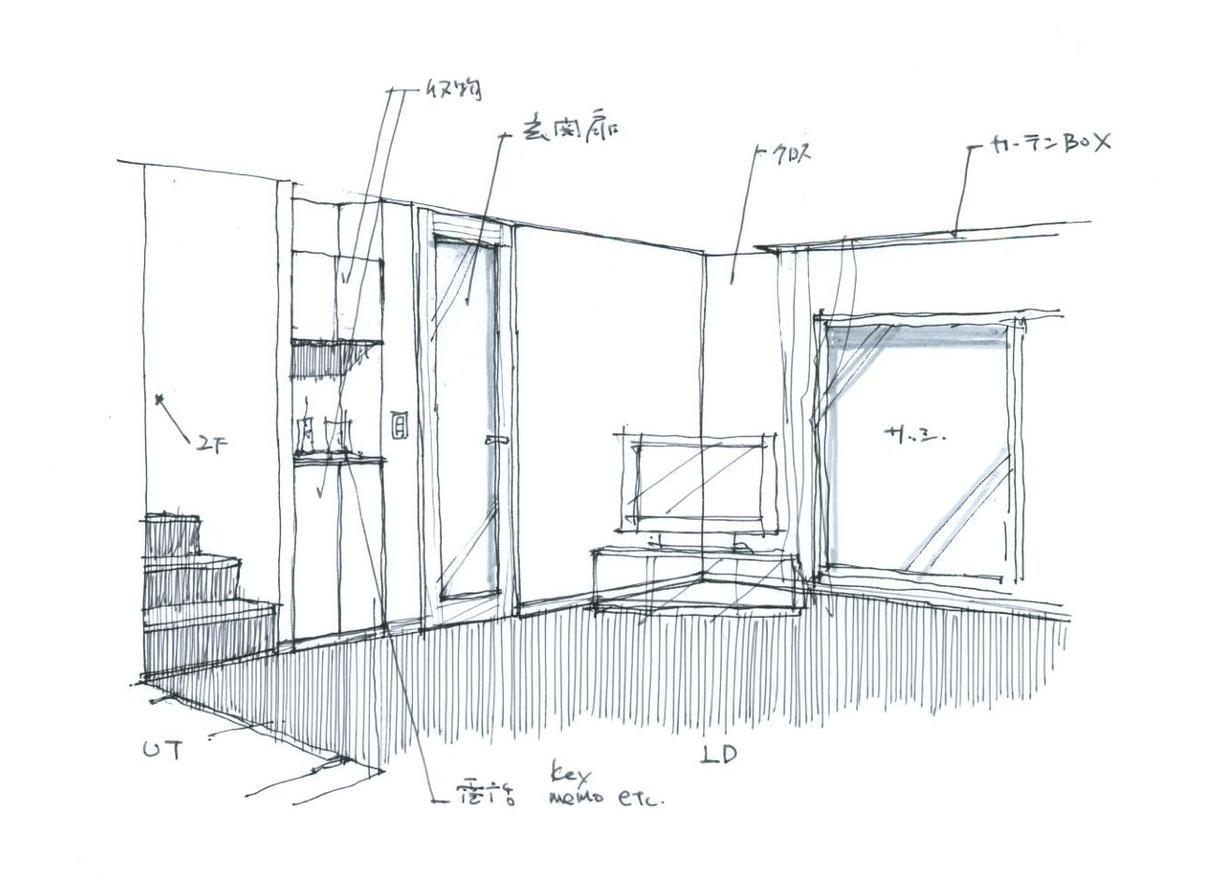 1.手描きのスケッチパースを描きます 建築や内装の完成イメージを、より分かりやすく表現します。
