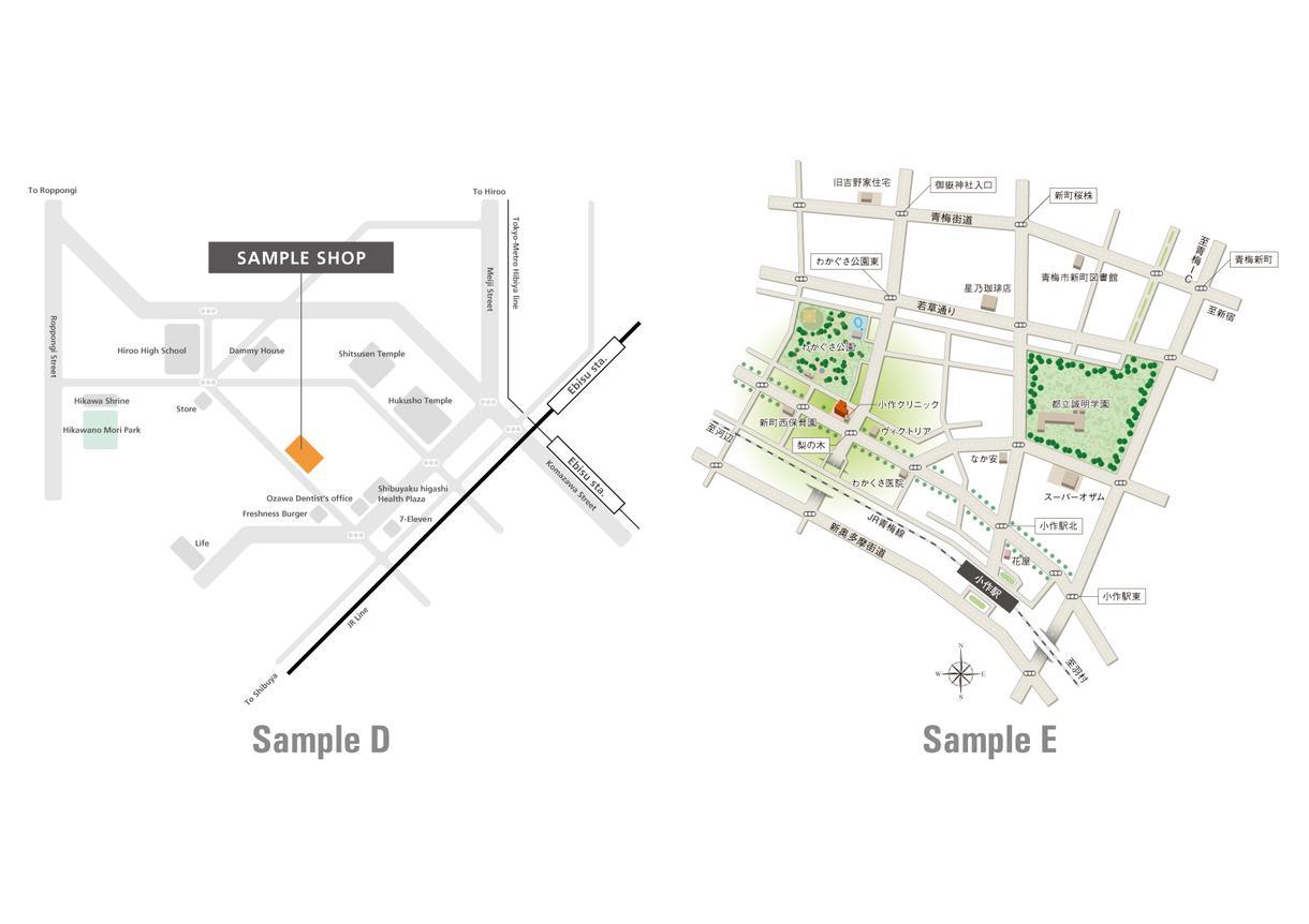 お店や紙面のイメージに合う地図を制作します 既存のWebマップでは味気ない…とお感じの方へ