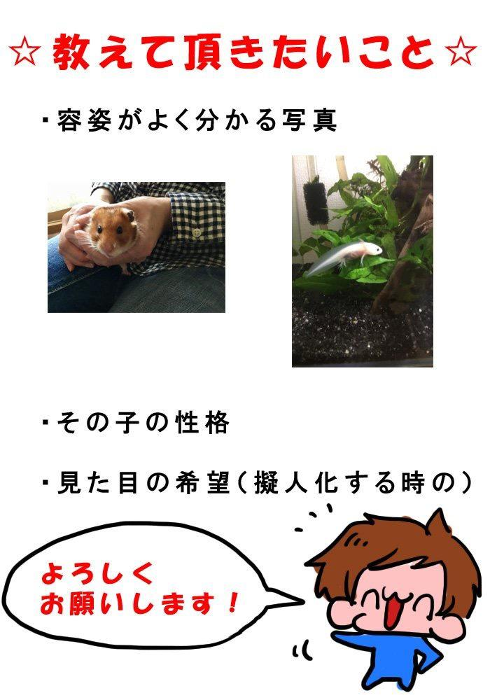 ペットの擬人化イラスト描きます わんちゃん、金魚ちゃん、インコちゃん、擬人化してみませんか?