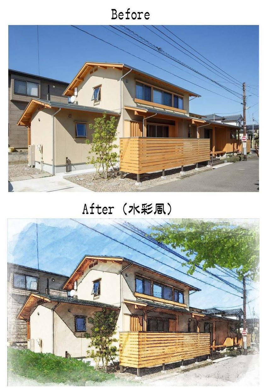 建物外観・内観写真を水彩風にレタッチ加工します HP/SNS/完成見学会の広告などに