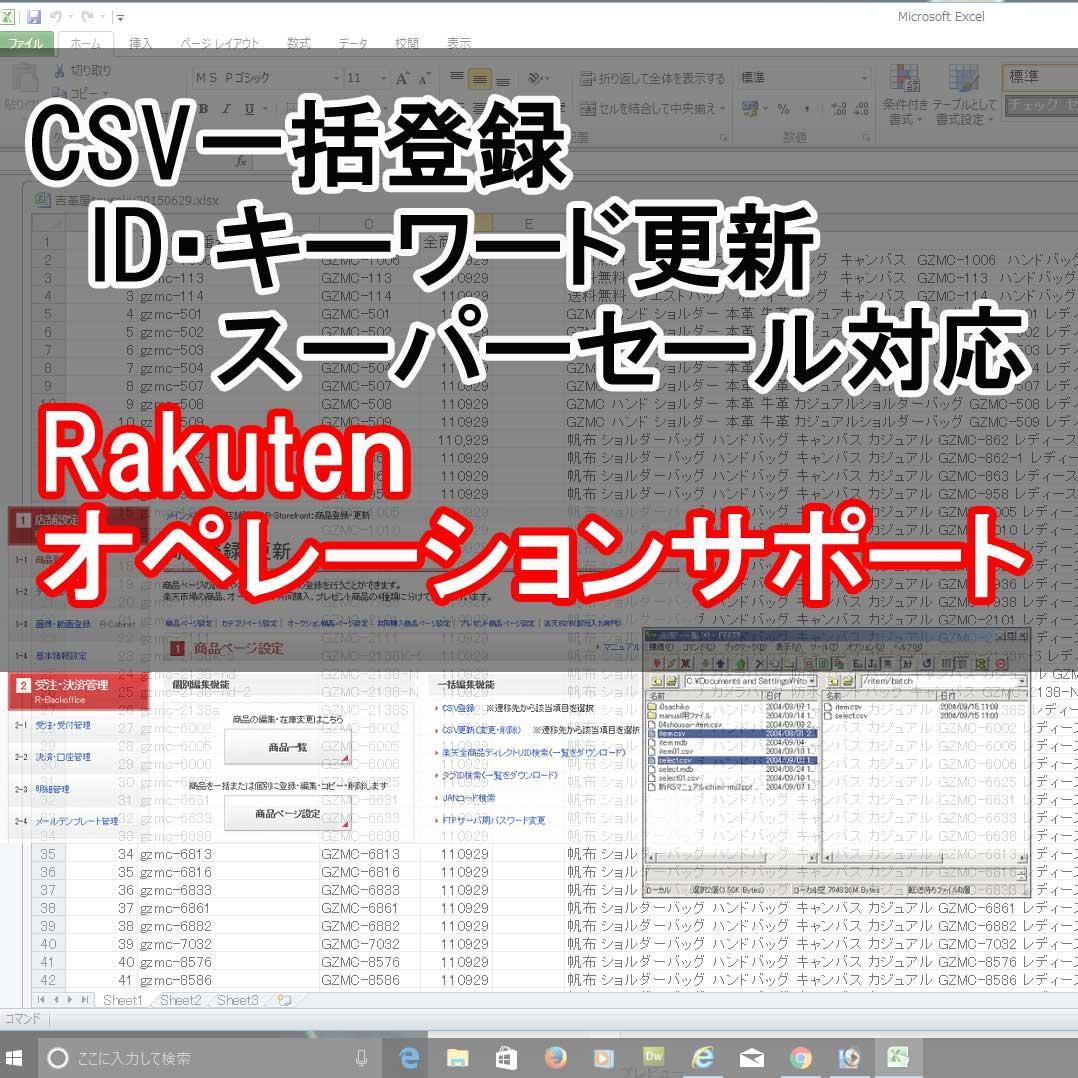 楽天ネットショップ運営サポートいたします CSVを使った一括更新・商品登録などなんでもお手伝い10日間