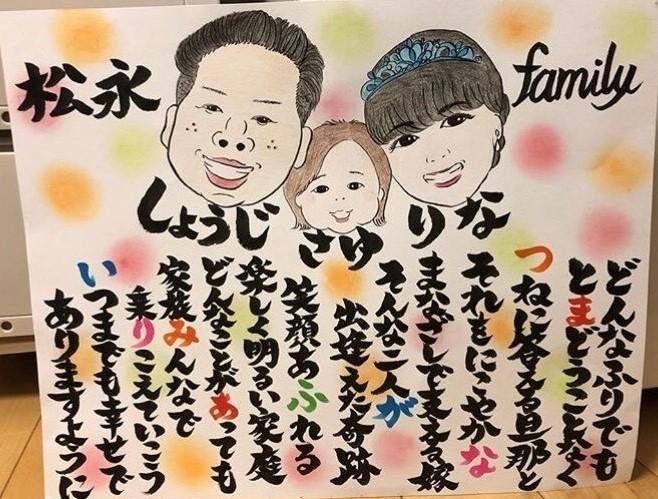 家族の似顔絵やお名前ポエムを手書きでかきます ペットも可能♪送料込みの一律3500円!追加料金一切なし!