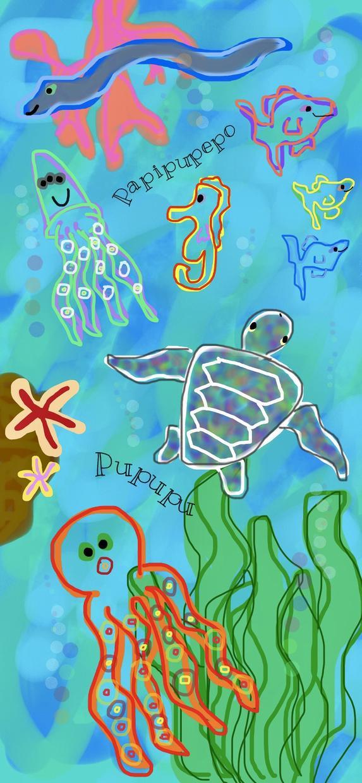 楽しい海の中を描きます カラフルで明るい海の中のライフをあなたのアルバムに保存:)