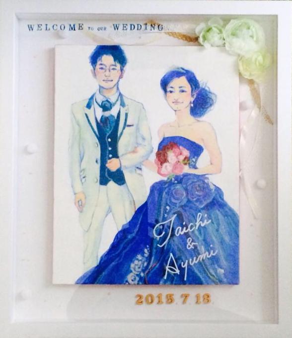 手描き!キャンバス☆程よくリアルなイラスト描きます お式後も飾りやすく、お2人の素敵な笑顔を絵に仕上げます。 イメージ1