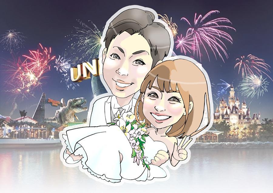 結婚式の似顔絵(デジタル)描きます ウェルカムボード用の似顔絵承ります♪ イメージ1